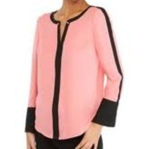 Limited Pink Long Bell Sleeve Contrast Top Medium